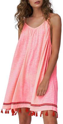 Pitusa Mallorca V-Neck Coverup Dress with Tassels