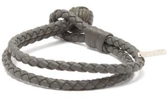 Bottega Veneta Double Wrap Leather Bracelet - Mens - Grey