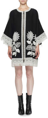 Andrew Gn 3/4-Sleeve Sunflower Embroidered Linen Zip-Front Fringe Coat