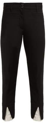 Ann Demeulemeester Lace Cuff Slim Leg Wool Trousers - Womens - Black