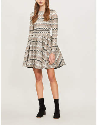 Maje Zigzag-pattern knitted mini dress