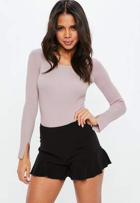 Missguided Purple Square Neck Ribbed Knit Bodysuit