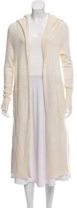 White + Warren Long Open Front Hooded Knit Cardigan