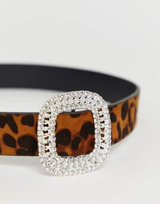 Asos Design DESIGN leopard waist and hip belt with rhinestone and tort buckle