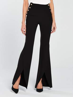 Very Split Flare Button Side Trouser - Black