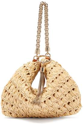 ec9225bbb3df Jimmy Choo Callie Woven Raffia Chain Tassel Clutch - Womens - Cream