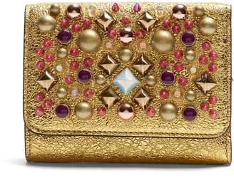 Christian Louboutin Macaron tri-fold embellished leather wallet