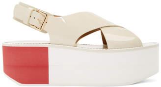 Flamingos Off-White Patent Virginia Platform Sandals