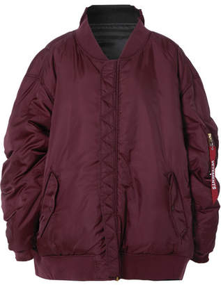 Reversible Oversized Shell Bomber Jacket - Burgundy