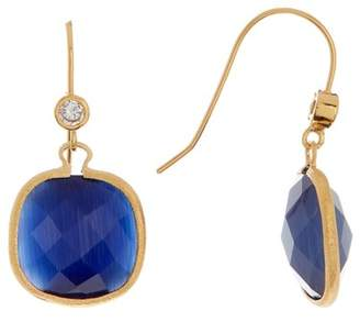 Rivka Friedman 18k Yellow Gold Cat's Eye Navy Crystal Simulated Diamond Drop Earring
