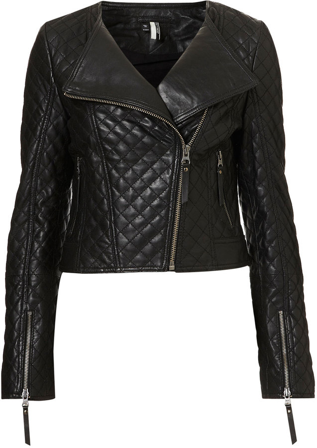 Quilted Collarless Biker Jacket