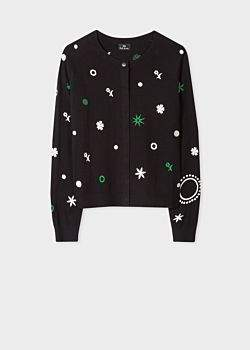 Women's Black Embroidered 'Supersonic' Motif Wool-Blend Cardigan