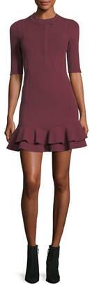 Veronica Beard Aubrey High-Neck Fitted Mini Dress w/ Tiered Hem