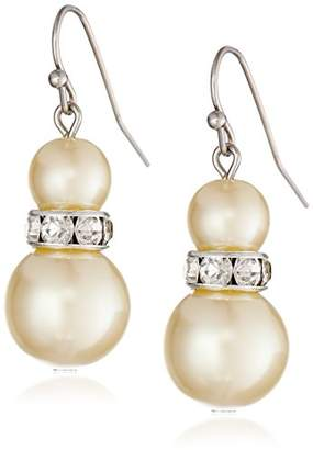 "1928 Jewelry""Pearl Essentials"" Silver-Tone White Graduated and Crystal Drop Earrings"
