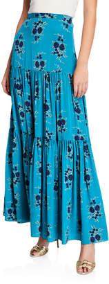 Veronica Beard Serence Tiered Floral Silk Maxi Skirt