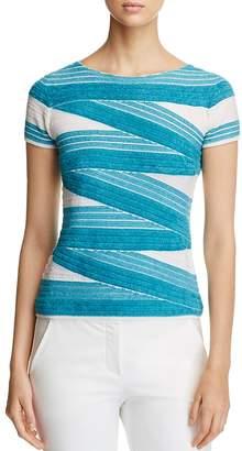 Armani Collezioni Textured Striped Top