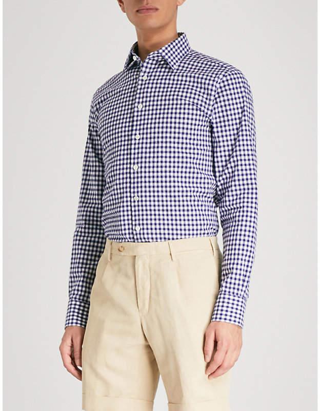 Smyth & Gibson Gingham slim-fit cotton-bouclé shirt