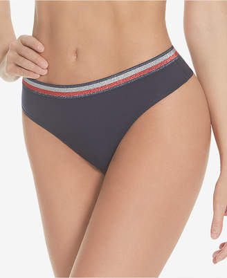 Tommy Hilfiger New! Women Shimmer Band Ribbed Thong R11T054