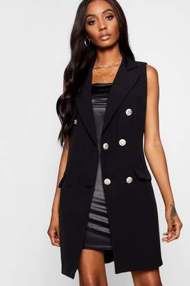 boohoo Tailored Military Button Duster Jacket