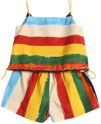Dolce & Gabbana Stripes Print Cotton Poplin Top & Shorts