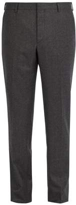Prada Straight Leg Wool Trousers - Mens - Dark Grey