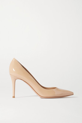 Gianvito Rossi 85 Patent-leather Pumps - Beige
