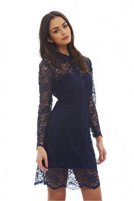 AX Paris Long Sleeve Lace Shirt Dress