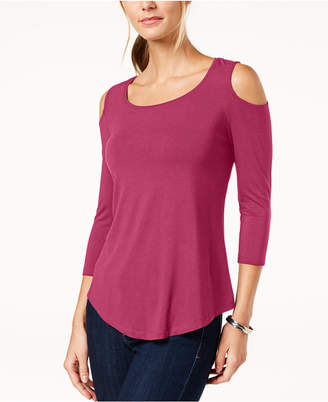 JM Collection Petite Cold-Shoulder Top, Created for Macy's