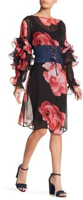 TOV Tiered Ruffle Sleeve Floral Dress