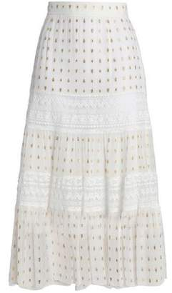 Temperley London Lace-trimmed Metallic Fil Coupe Crepe De Chine Midi Skirt