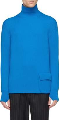 MAISON FLANEUR Flap pocket wool rib knit turtleneck sweater