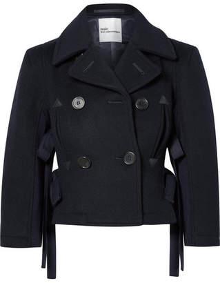 Noir Kei Ninomiya Double-breasted Cropped Wool Jacket - Midnight blue