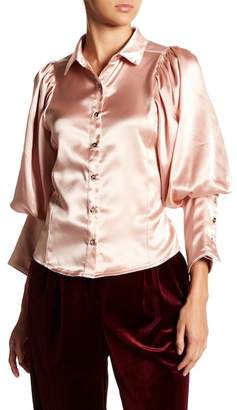 Gracia Satin Bishop Sleeve Collar Shirt
