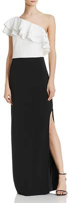 Laundry by Shelli Segal One-Shoulder Color-Block Gown
