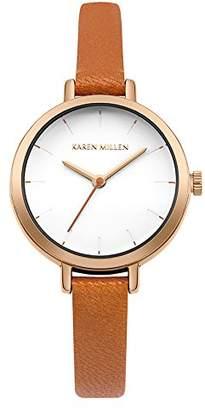 Karen Millen Women's Quartz Metal and Leather Casual Watch, Color:Orange (Model: KM158O)
