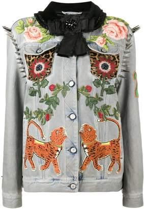Gucci King Charles Spaniel studded denim jacket