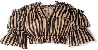 Zimmermann Jaya Off-the-shoulder Striped Cotton-gauze Top