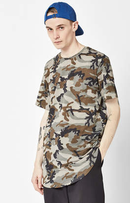 GUESS Pacsun Ferri Camouflage Extended Length Scallop T-Shirt
