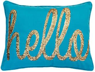 Co Jimco Lamp & Manufacturing Hello Sequin Script Faux Linen Pillow