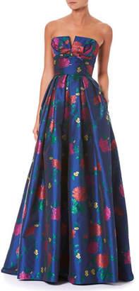 Carolina Herrera Strapless Bustier Floral-Print Evening Gown