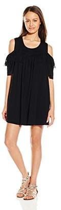 Paper Crane Papercrane Women's Cold Shoulder Knit Dress with Fringe Detail