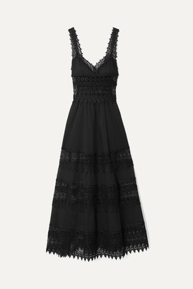 Charo Ruiz Ibiza Sophia Crocheted Lace-paneled Cotton-blend Voile Maxi Dress - Black