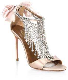 Aquazzura Fifth Avenue Crystal& Satin Sandals