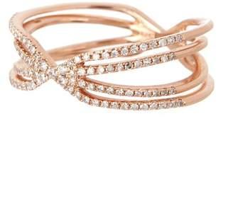 Ef Collection 14K Rose Gold Pave Diamond Sunburst Ring - Size 7 - 0.30 ctw