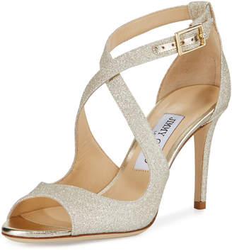 Jimmy Choo Emily Glitter Crisscross 85mm Sandals, Gold