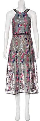 Self-Portrait Embroidered Sleeveless Dress