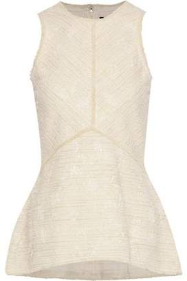 Proenza Schouler Cotton-Blend Bouclé-Tweed Peplum Top
