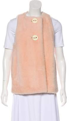 Fendi Shearling Button-Up Vest w/ Tags