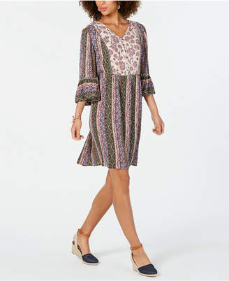 Style&Co. Style & Co Petite Printed Bell-Sleeve Dress
