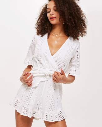 Topshop Broderie Wrap Playsuit